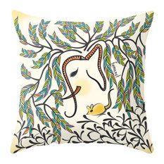 Watercolor Elephant And Mouse Pillow Cover