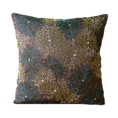 "Brown Multicolor Beaded Flower 26""x26"" Silk Euro Sham, Floral Spark"