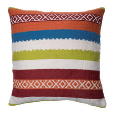 """Blue, Green, Red, Orange Indoor/Outdoor 22""""x22"""" Pillow by Loloi, Down Insert"""
