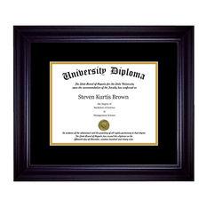 "Single Diploma Frame with Double Matting, Premium Black, 12""x16"", UV"