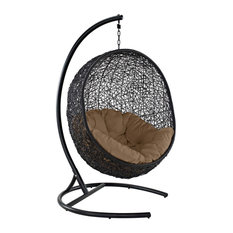 Mocha Encase Swing Outdoor Patio Lounge Chair
