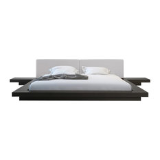Worth Queen Bed, Wenge, Warm Gray Leatherette