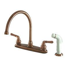 Kingston Brass   Water Saving Magellan Centerset Kitchen Faucet, White  Sprayer, Antique Brass