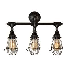 Retro 3-Bulb Vanity Light in Matte Black