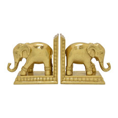 "Three Hands Elephant Bookend, Gold Resin Magnesium 14""x3""x6"""