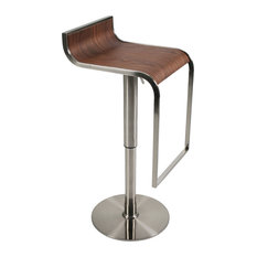 Euro Style Forest Bar and Counter Stool Walnut and Satin Nickel Bar Stools