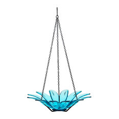 Recycled Glass and Metal Hanging Daisy Bird Bath Feeder, Aqua Blue