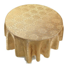 Damask Gold Fabric Tablecloth, 70 Round