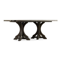 Corsica Dark Rectangle Pedestal Dining Table With 2-20-inch Leaves