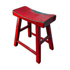 Elmwood zen stool distressed black asian bar stools for Asian furniture westmont il