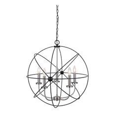 "Canarm ICH282B0525 Summerside 5 Light 25"" Taper Candle Globe Chandelier"