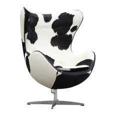 Fine Mod Imports Inner Pony Hide Chair, Black and White