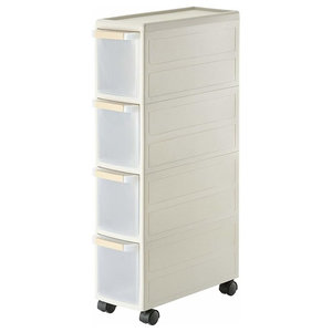 Contemporary Storage Trolley Drawer, PP Plastic With 4-Drawer, Slim Design