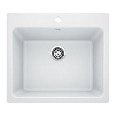 "25""x22""x12"" Blanco Liven Silgranit Laundry Sink, White"