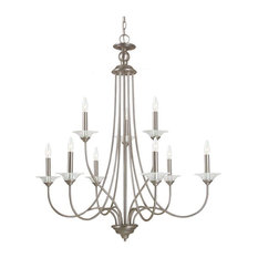 Sea Gull Lemont 9 Light Chandelier, Antique Brushed Nickel