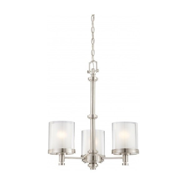Decker, 3 Light Chandelier With Clear and Frosted Glass
