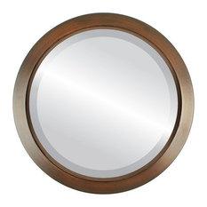 "Regatta Framed Round Mirror in Mocha, 16""x16"""