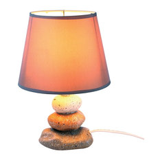 WHAT ON EARTH - Cairn Rock Table Lamp, Ceramic Zen Decor With Corded Base and Cloth Shade - Table Lamps