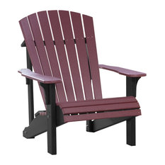 LuxCraft Deluxe Recycled Plastic Adirondack Chair, Cherrywood On Black