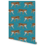 """Adornshoppe - Tiger Blue Wallpaper, Double Roll - Add jungle style to your room with our tiger wallpaper. Each double roll measures 24"""" wide x 30' long. Digitally printed on top quality, durable, pre-pasted paper for easy installation and removal. Samples are available. Please allow 2-3 weeks for delivery, as wallpaper is custom printed upon order. Made in the USA."""