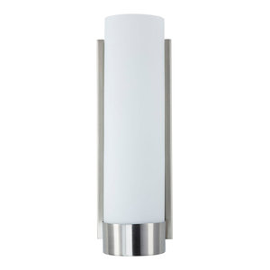 1-Light Bath Vanity Elina Wall Sconce With Frosted Glass Shade, Brushed Nickel