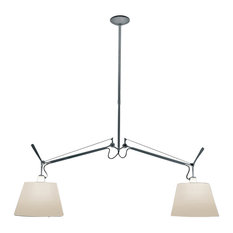"""Tolomeo Dbl. Shade Suspended Light, With 12"""" Diff Parchment Inc 2X150W"""