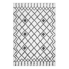 nuLOOM Frideborg Contemporary Geometric Area Rug, Black And White, 3'x5'