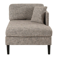Classic Chaise Lounge, Cozy Back Cushion and 2 Accent Pillows, Linen, Ash Brow