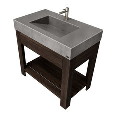 "36"" Lavare Vanity With Concrete Ramp Sink and Drawer, Charcoal"