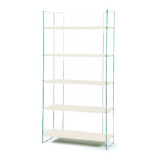Zen Ex Libris Glass Bookcase, White Lacquered Shelves