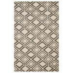 EORC - Handmade Wool Gray Contemporary Geometric Raga Rug - Elegant, with a simple geometric pattern, this rug is a perfect choice for easy decorating.  .  Handmade quality.  textured flatweave with a raised pile.  Pile height: 0.3 inches.  Made in India.