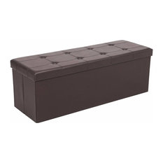 Contemporary Folding Ottoman Storage Box in Faux Leather with Inner Divider