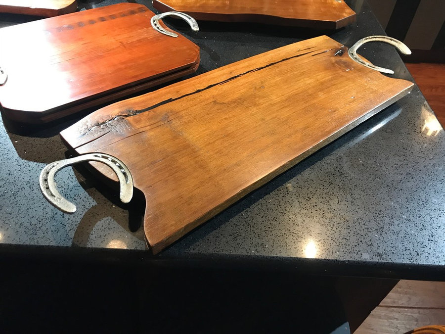 Tray # 18023 Reclaimed Walnut and Reclaimed Horse Shoes