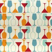 """Wine and Martini Glass Pattern"" Print, 12""x18"""