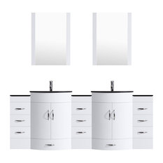 "84"" White Vanity, 24"" Double Sink Bases, Double 12 Drawer Bases, LV5-C19-84-W"