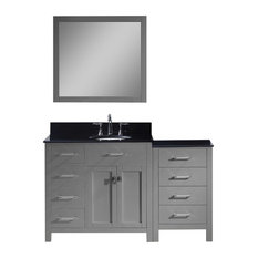 "Caroline Parkway 57"" Vanity, Gray, Without Faucet, Round, Left"