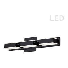 3-Light LED Wall Vanity, Matte Black Finish