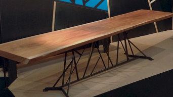 table en acier et bois