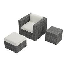 3-Piece District Club Chair Set, Canvas Natural Cushions