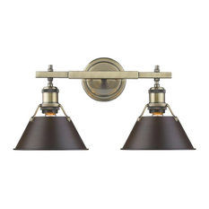 Orwell AB 2-Light Bath Vanity, Aged Brass With Rubbed Bronze Shade