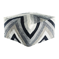 Jaipur Living Bergen Gray/Black Geometric Square Pouf