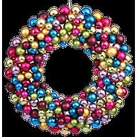 """Plastic Ball Ornament Wreath, 24"""", Multicolored"""