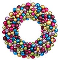"""Vickerman Plastic Ball Ornament Wreath, 24"""", Multicolored"""