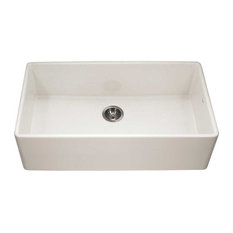 """Platus Fireclay Apron Front Or Undermount Single Bowl 36"""" Kitchen Sink, Biscuit"""