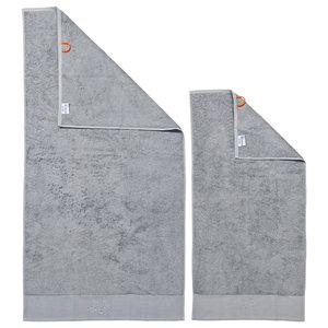 Star Black Line Stone Grey Towel Set With Grey Rhinestones, Silver, Set of 2