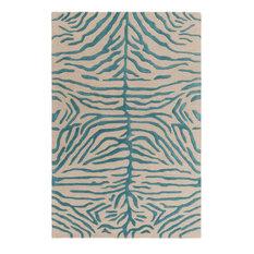 Artistic Weavers   Teal/Beige Animal Print Rug, 5u0027x8u0027, Pollack