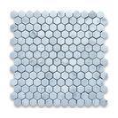 "12""x12"" Carrara White Hexagon Mosaic Tile Polished, Chip Size: 1"""