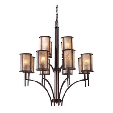 Barringer 8+4 Light Chandelier, Aged Bronze And Tan Mica