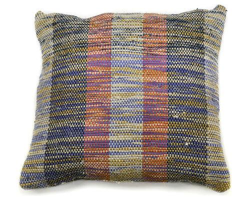 re:loom - re:loom Handwoven Medium Pillow, Green/Blue/Red - Decorative Pillows