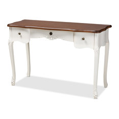 Maegen French Country White And Brown Large 3-Drawer Wood Console Table
